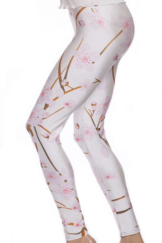 Vita ljust rosa leggings tights med blommor på träd