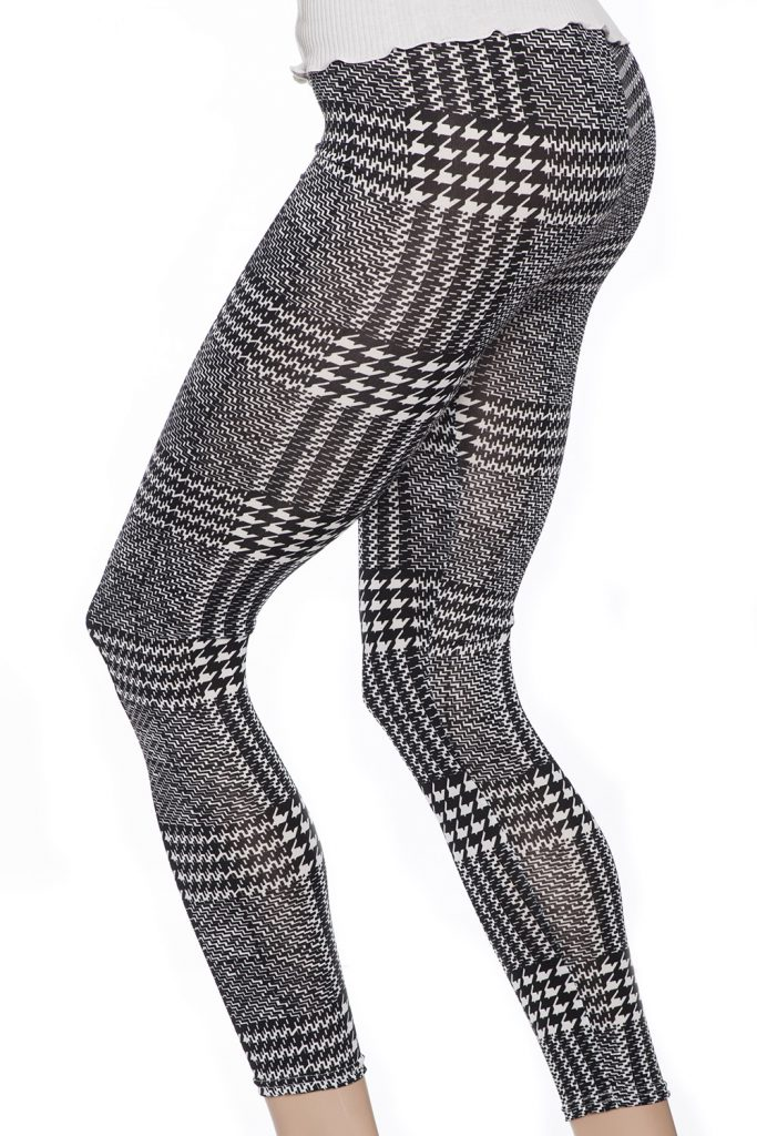 Gråa svarta vita grafiska snygga leggings och tights