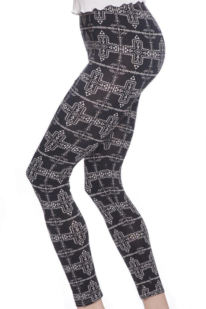 Grafiska svarta leggings tights med mönster av kors
