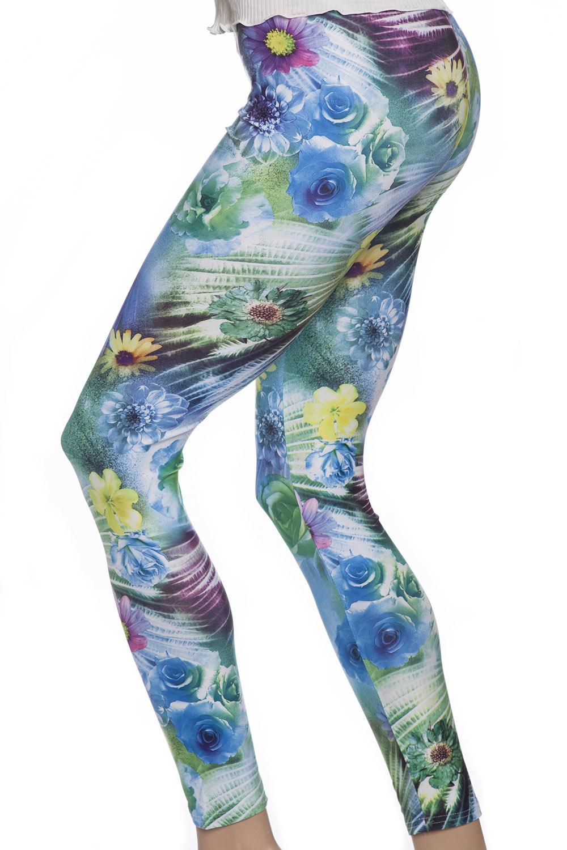 Leggings tights med blommor i blåa gröna och gula nyanser