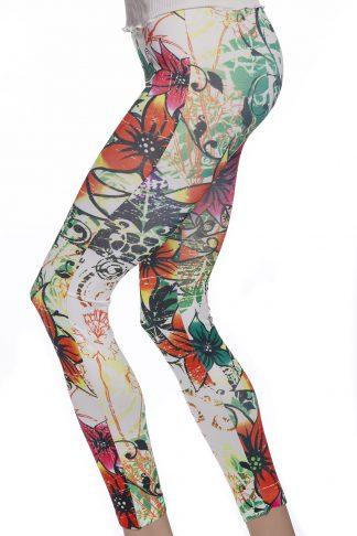 Somarrtights leggings med blommor och grafitti