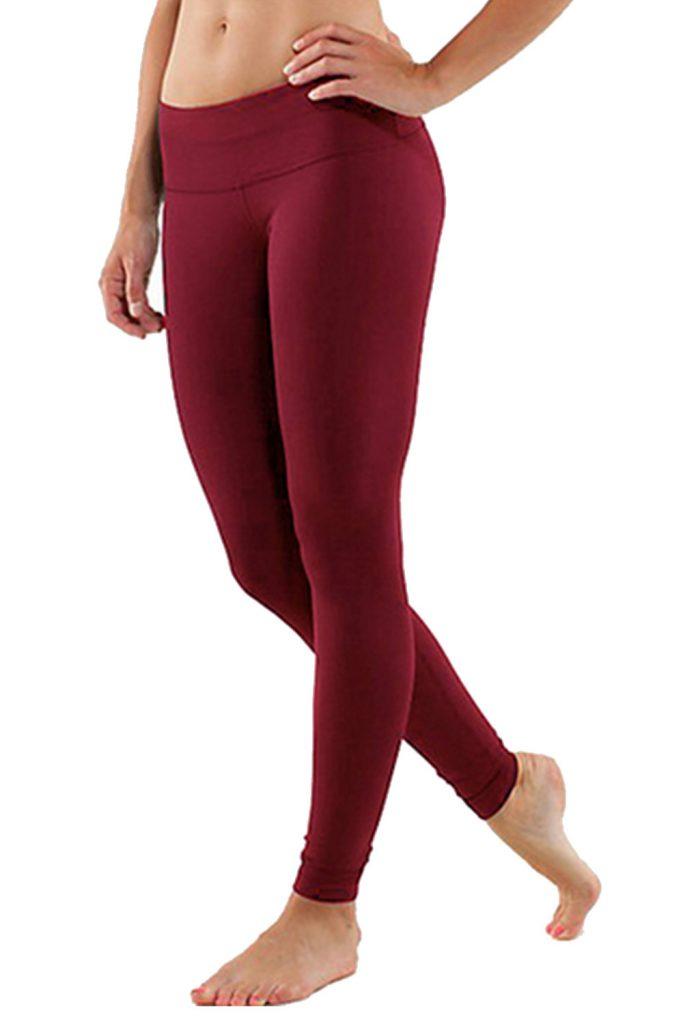 Dark Red Yoga Leggings
